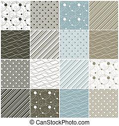 גיאומטרי, seamless, patterns:, נקודות, גלים, פסים