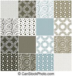 גיאומטרי, seamless, patterns:, נקודות, עיגולים, ו, גלים