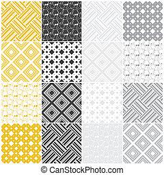 גיאומטרי, seamless, patterns:, ריבועים, ו, פסים