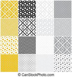 גיאומטרי, seamless, patterns:, ריבועים, נקודות של פולקה, שוורון