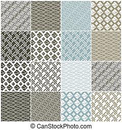 גיאומטרי, seamless, patterns:, ריבועים, קוים, גלים