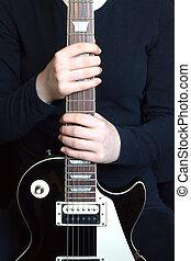 גיטרה, ילדה, מחזיק, חשמלי, זקוף