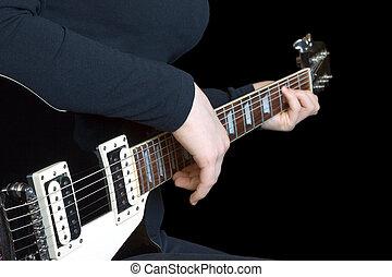 גיטרה, ילדה שחורה, משחק, חשמלי