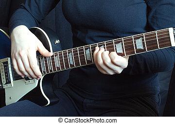 גיטרה, מוסיקאי, שחור, לשחק