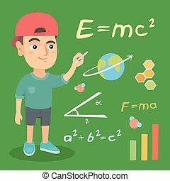 גיר, chalkboard., תלמיד, לכתוב