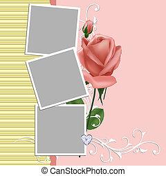 גלויה, מסגרת של צילום, טופס, חתונה, או