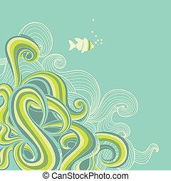 גלים, של ים, ראטרו, רקע, ים