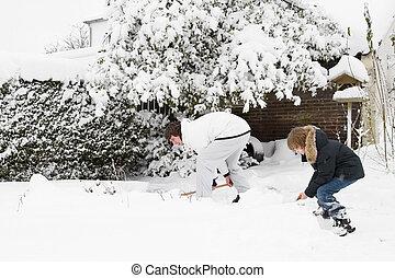 גן, אבא, השלג, ביחד, ילד, להעביר