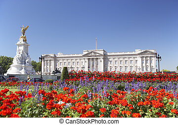 גן, ארמון, *l*, באקינגהם, מלכה, ללבלב, פרחים