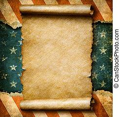 גראנג, טופס, מגילה של נייר, או, קלף, מעל, דגל של ארהב, יום...