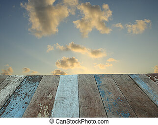 גראנג, רצפה מעץ, עם, עלית שמש, שמיים, רקע