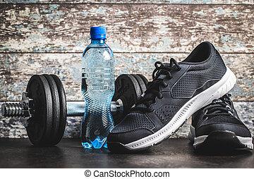דאמבאל, concept., נעליים של ספורט, בקבוק, שחור, water., כושר גופני