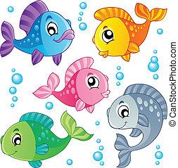 דגים, חמוד, 3, שונה, אוסף