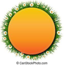 דגל, כדור, עם, דשא, ו, פרוח, רקע לבן
