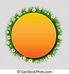 דגל, כדור, עם, דשא, ו, פרוח, שקוף, רקע
