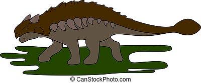 דוגמה, ankylosaurus, דשא, רקע., וקטור, לבן