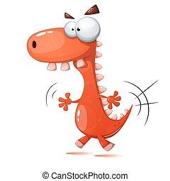 דינוזאור, משוגע, מצחיק, חמוד, illustration.