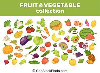 דירה, איקונים, ירקות, הפרד, אוסף, וקטור, פירות, עינבים, או