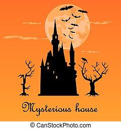 דירה, איקונים, misterious, דיר, הלוווין, חושך, holiday., night.