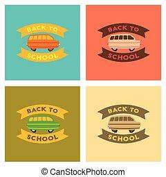 דירה, בית ספר, אסיפה, איקונים, אוטובוס, השקע
