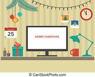 דירה, יסודות, סנטה, דסקטופ, וקטור, עצב, חג המולד