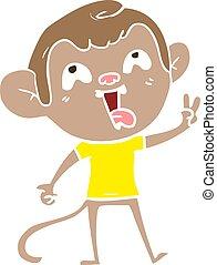 דירה, משוגע, קוף, צבע, שלום, סיגנון, חתום, לתת, ציור היתולי