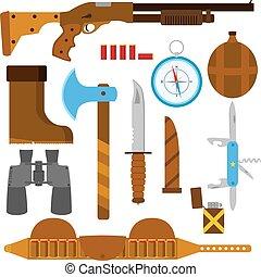 דירה, קבע, מקרה, לצוד, איקונים, רובה ציד, גרזן, אור, סכין