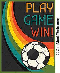 דירה, שחק, פוסטר, משחק, עצב, ראטרו, win!, style.