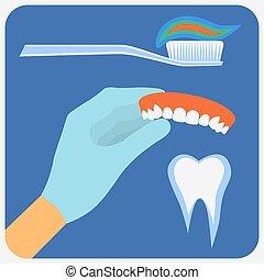 דירה, של השיניים, קבע, כלים