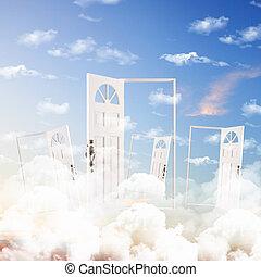 דלת כחולה, שמיים, נגד, רקע, לבן