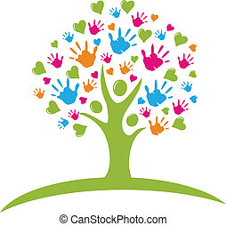 דמויות, לבבות, עץ, ידיים