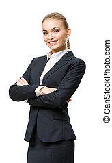 דמות, אישת עסקים, חצי אורך, ידיים עבורות