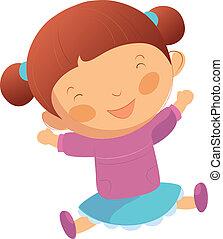 דמות, ילדה, שמח