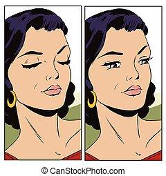 דמות, צעיר, woman., אנשים ב, ראטרו, style.
