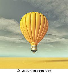 דמות קונצפטואלית, עם, a, אור צהוב, נורת חשמל