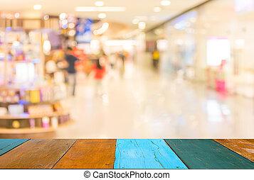 דמות, של, חנות קמעונית, מטושטש, רקע.