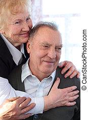 דמות, של, מזדקן, זוג