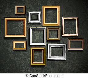 דמין, אומנות, מסגרת של צילום, vector., gallery.picture, פ.