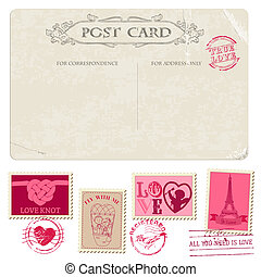 דמי-דואר, גלויה, בציר, -, עצב, הזמנה, בולים, חתונה, ספר ...