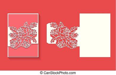 דפוסית, הזמנה, חתונה, לייזר, מעטפה, חתוך, card5