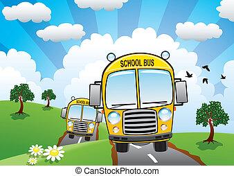 דרך, וקטור, אוטובוסים, צהוב, ארץ, בית ספר