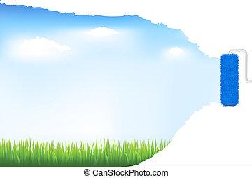 דשא ירוק, וכחול, שמיים, עם, צבע מוט גלילי