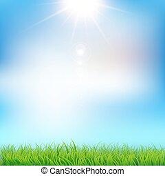 דשא ירוק, וכחול, sky., וקטור, דוגמה, eps10