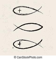 דת, סמל, נוצרי, fish
