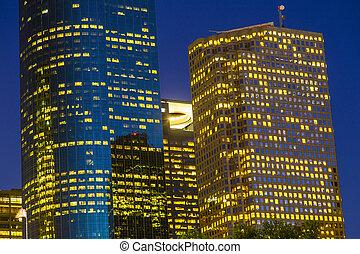 הבט, ב, מרכז העיר יוסטון, על ידי, לילה