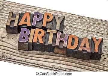 הדפס, עץ, יום הולדת, שמח