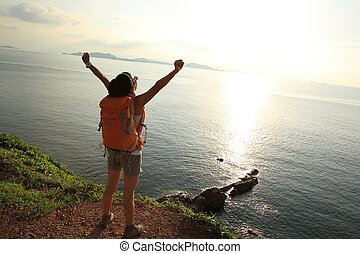 ההנה, הר, אישה, להריע, חוף ים, ילקוטים, הבט