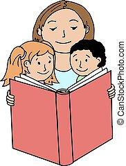 הזמן, ילדים, לקרוא, שלה, אמא