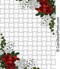 הזמנה, חתונה, גבול, ורדים, אדום