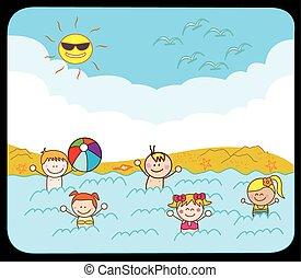 החף, ילדים, לשחות